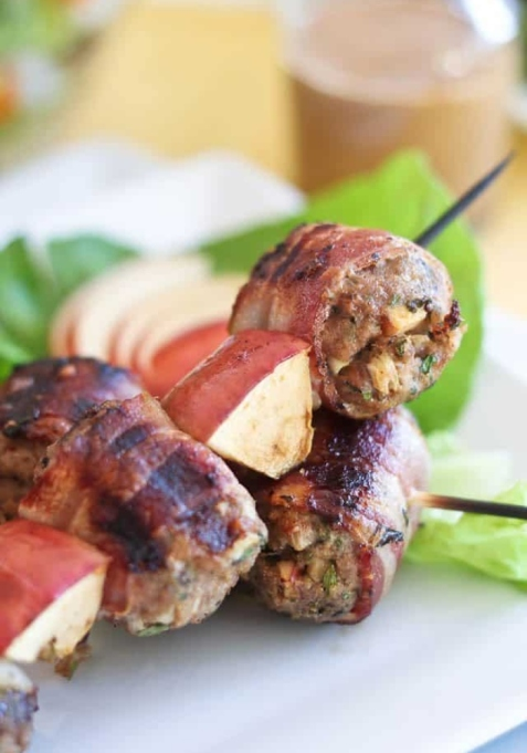 Bacon Wrapped Apple Pork Meatball Kebabs.