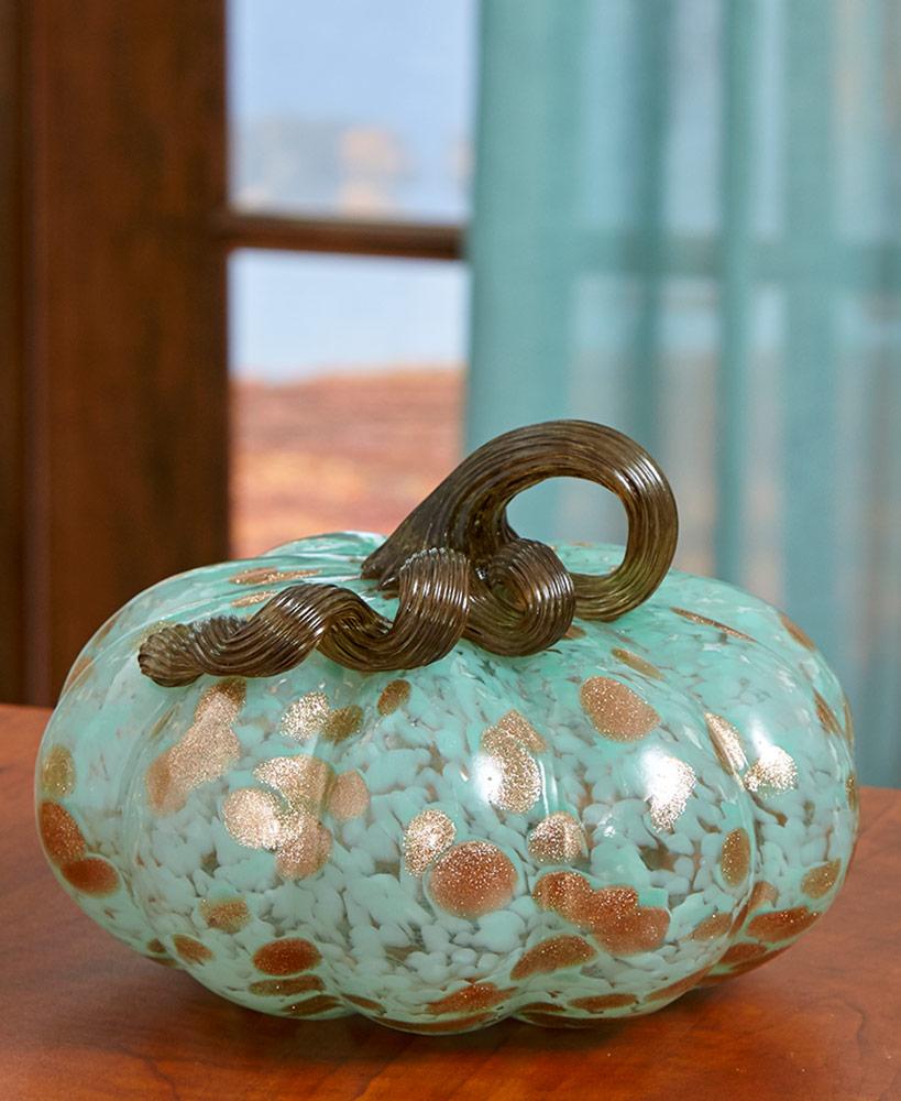 Glass Art Pumpkin Decor
