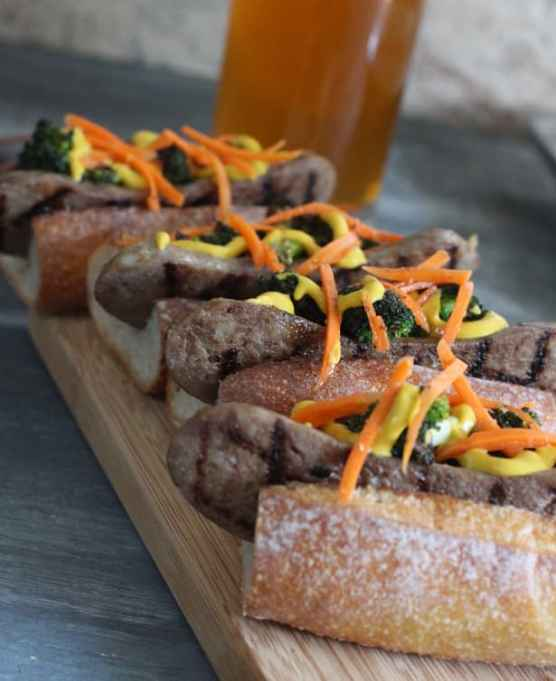 Bratwurst Sandwiches With Charred Broccoli & Pickled Carrots