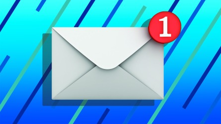 email notification on blue background