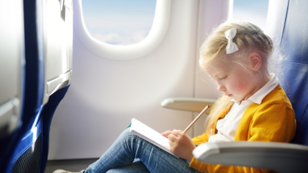 Adorable little girl traveling