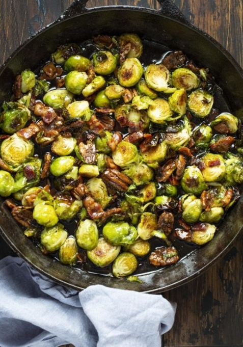 Brussels Sprouts in Maple Bourbon Sauce.