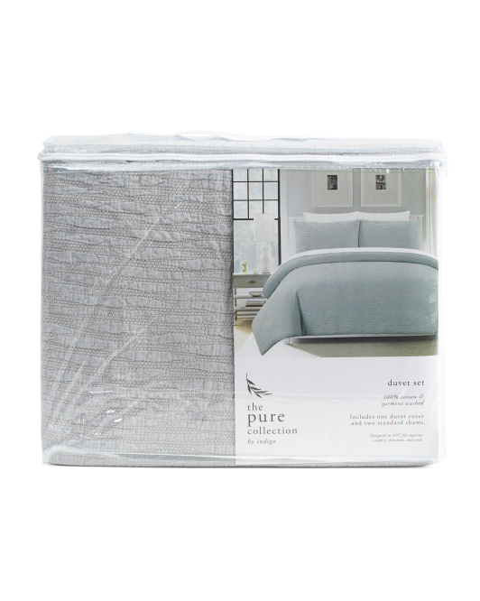 The Pure Collection 3pc Wave Matellase Garmet Washed Duvet Set