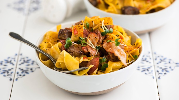 Meat pasta with sausage; Shutterstock ID