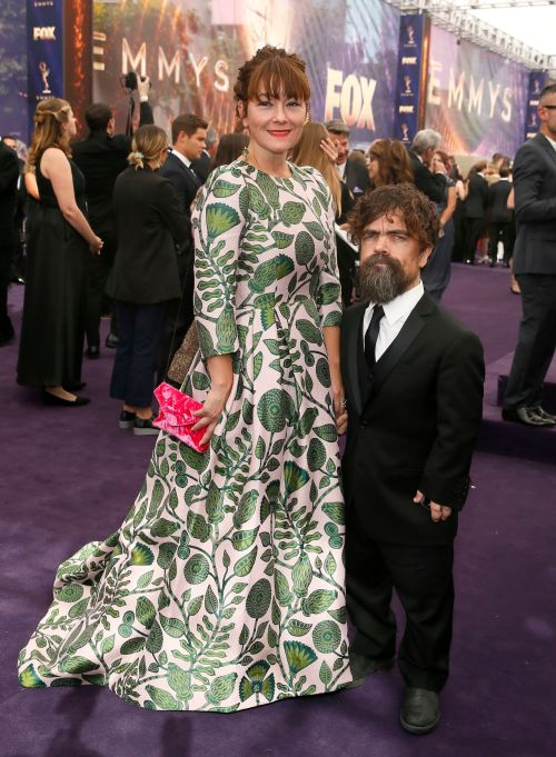 Erica Schmidt, Peter Dinklage. Erica Schmidt and Peter Dinklage arrive at the 71st Primetime Emmy Awards, at the Microsoft Theater in Los Angeles71st Primetime Emmy Awards - Red Carpet, Los Angeles, USA - 22 Sep 2019