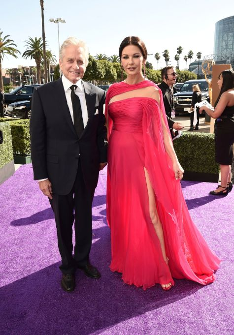 Michael Douglas, Catherine Zeta-Jones. Michael Douglas, left, and Catherine Zeta-Jones arrive at the 71st Primetime Emmy Awards, at the Microsoft Theater in Los Angeles71st Primetime Emmy Awards - Limo Drop Off, Los Angeles, USA - 22 Sep 2019
