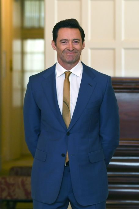 Australian Actor Hugh Jackman poses for photographs with other recipients after he was appointed a Companion in the General Division for eminent service to the performing arts as an acclaimed actor and performer, and to the global community, particularly as an advocate for poverty eradication during an Investitures Ceremony at Government-House in Canberra, Australia, 13 September 2019. Order of Australia investiture ceremony in Canberra - 13 Sep 2019