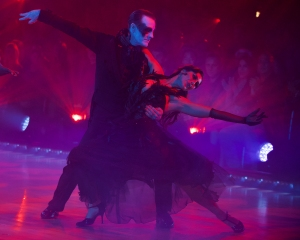 """DANCING WITH THE STARS - """"Halloween"""" - All treats and no tricks as eight celebrity and pro-dancer couples return to the ballroom to celebrate Halloween and compete on the seventh week of the 2019 season of """"Dancing with the Stars,"""" live, MONDAY, OCT. 28 (8:00-10:00 p.m. EDT), on ABC. (ABC/Eric McCandless)JAMES VAN DER BEEK, EMMA SLATER"""