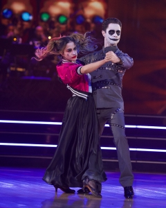 """DANCING WITH THE STARS - """"Halloween"""" - All treats and no tricks as eight celebrity and pro-dancer couples return to the ballroom to celebrate Halloween and compete on the seventh week of the 2019 season of """"Dancing with the Stars,"""" live, MONDAY, OCT. 28 (8:00-10:00 p.m. EDT), on ABC. (ABC/Eric McCandless)ALLY BROOKE, SASHA FARBER"""