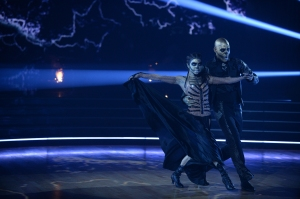 """DANCING WITH THE STARS - """"Halloween"""" - All treats and no tricks as eight celebrity and pro-dancer couples return to the ballroom to celebrate Halloween and compete on the seventh week of the 2019 season of """"Dancing with the Stars,"""" live, MONDAY, OCT. 28 (8:00-10:00 p.m. EDT), on ABC. (ABC/Eric McCandless)JENNA JOHNSON, KARAMO"""