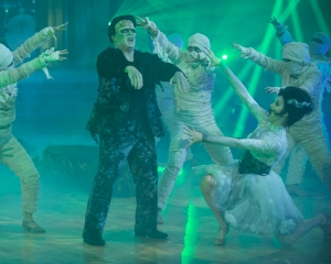 """DANCING WITH THE STARS - """"Halloween"""" - All treats and no tricks as eight celebrity and pro-dancer couples return to the ballroom to celebrate Halloween and compete on the seventh week of the 2019 season of """"Dancing with the Stars,"""" live, MONDAY, OCT. 28 (8:00-10:00 p.m. EDT), on ABC. (ABC/Eric McCandless)SEAN SPICER, LINDSAY ARNOLD"""