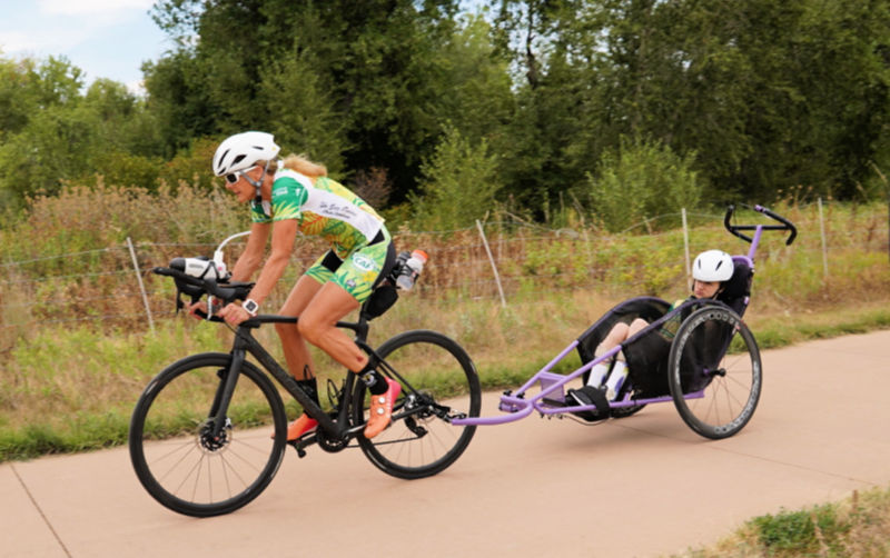 Beth and Liza James train on the bike trail