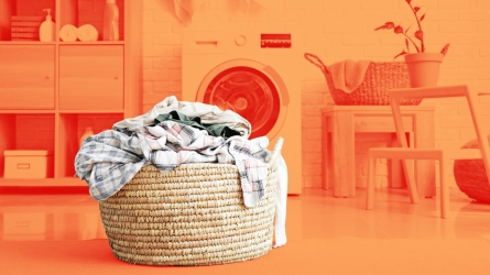 laundry basket filled with dirty clothes