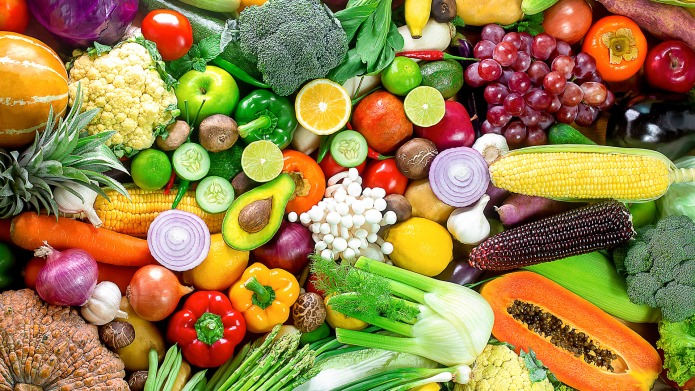 Fresh vegetables and fruits,Colorful fruits and