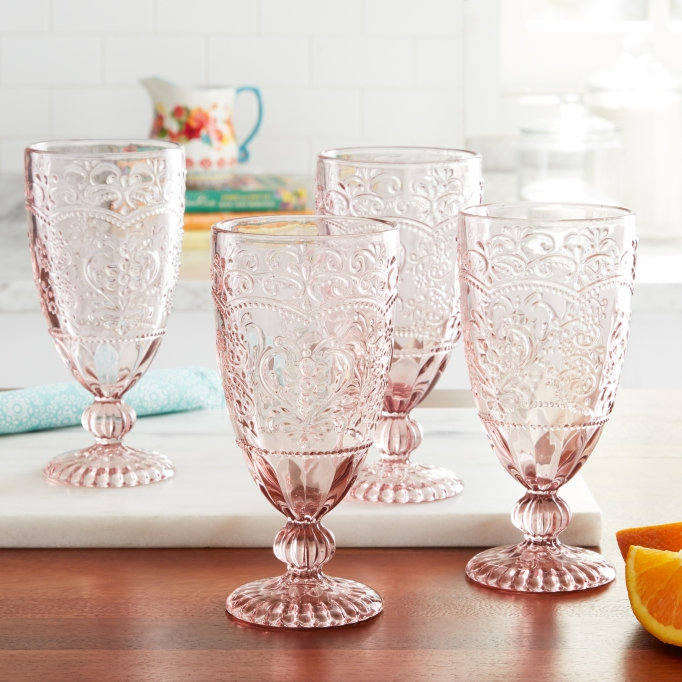 The Pioneer Woman rose tea goblets
