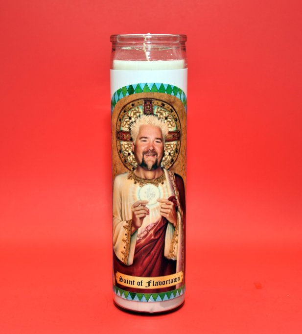 Guy Fieri prayer candle TheNorthernFlame/Etsy