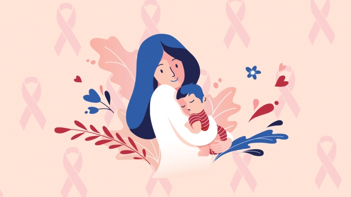 Mom and baby against breast cancer