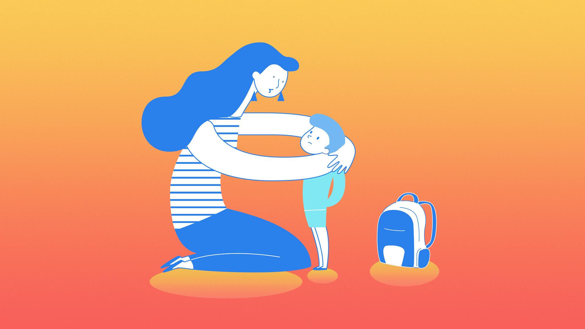 Mom hugging little boy with backpack