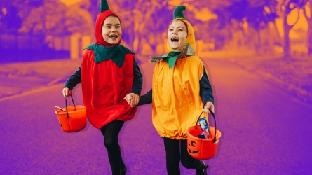 Halloween trick or treating kids roam