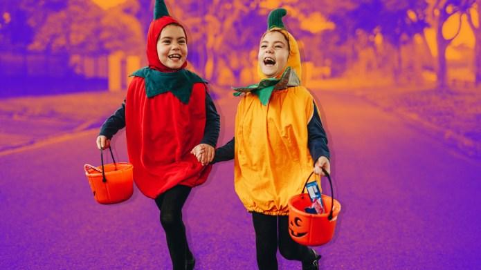 Halloween trick or treating kids roam