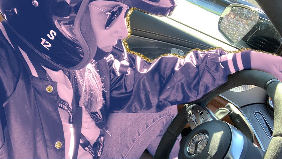 Woman driving Mercedes-Benz AMG GT3 Race Car