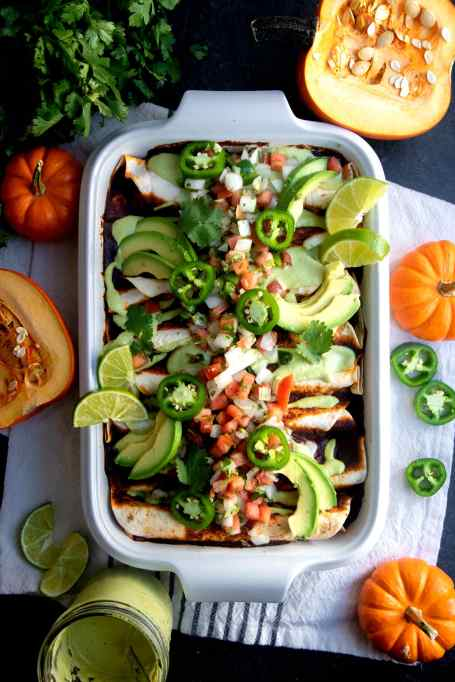 Pumpkin and Black Bean Vegan Enchiladas