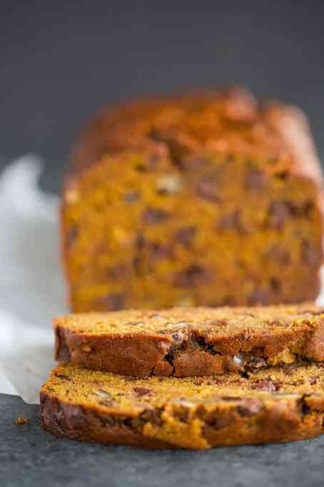 Pumpkin Bread With Chocolate Chips & Pecans