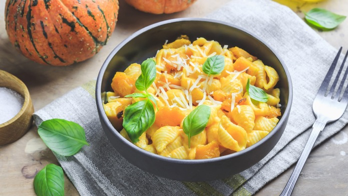 Creamy roasted pumpkin pasta with parmesan