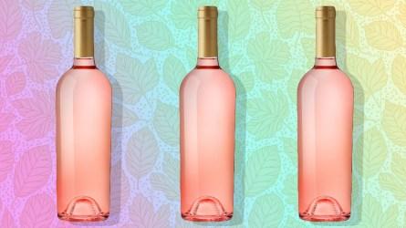 rose wine splashing on white background;