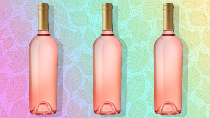 rose wine splashing on white background;