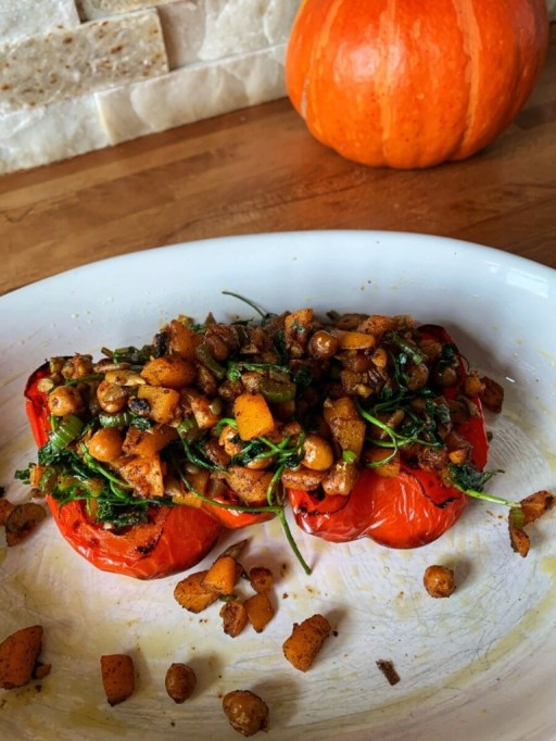Savory Pumpkin Recipes: Vegan Pumpkin Stuffed Bell Peppers