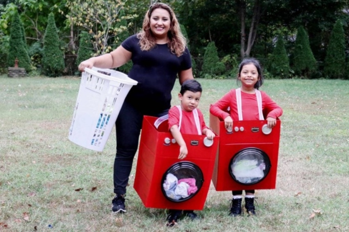 Washer and dryer costumes.