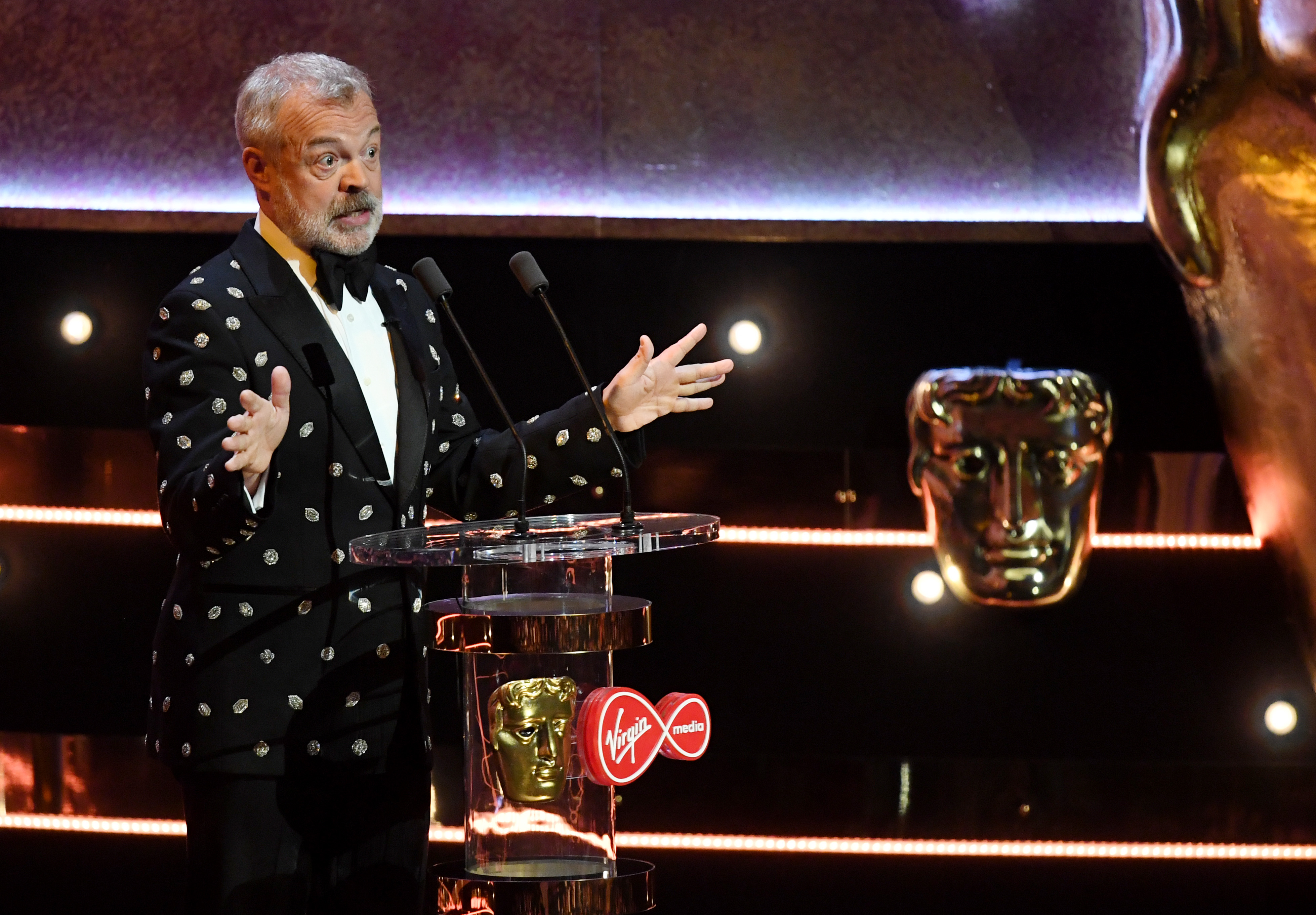 Exclusive - Premium Rates Apply. Outside all subscription deals. Please speak to your account manager for details and pricingMandatory Credit: Photo by James Veysey/BAFTA/Shutterstock (10234191f) Graham Norton British Academy Television Awards, Ceremony, Royal Festival Hall, London, UK - 12 May 2019