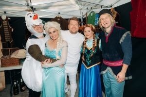 The 'Frozen 2' cast preparing to perform.