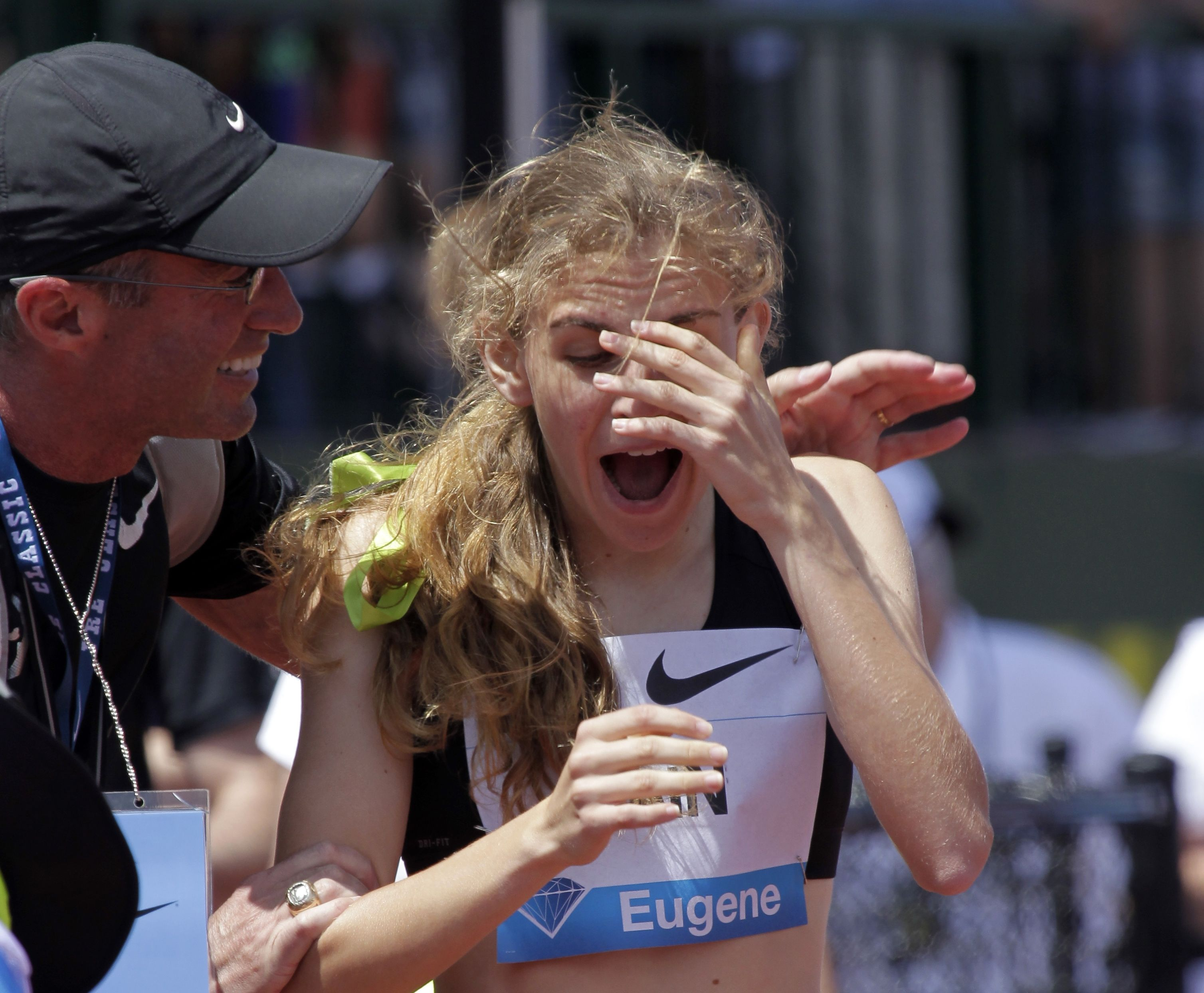 Mary Cain, Alberto Salazar Mary Cain, 17, right, reacts as coach Alberto Salazar tells her she has just broken the American high school 800-meter record during the Prefontaine Classic track and field meet in Eugene, OrePrefontaine Classic Athletics, Eugene, USA