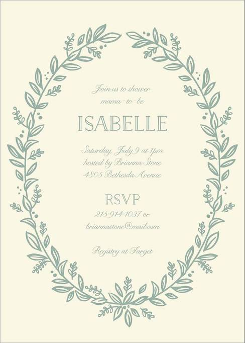 Baby Shower Invitations That Will Delight Every Guest: Leafy Frame