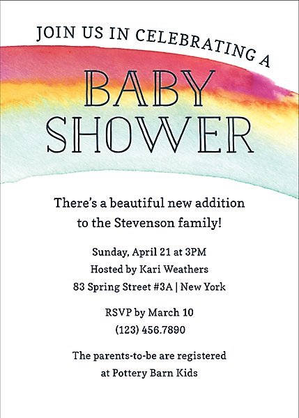 Baby Shower Invitations That Will Delight Every Guest: Watercolor Rainbow