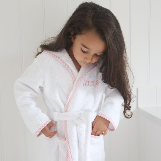 Celebrity Gift Guide: Personalized Pink Trim Gingham Robe by My 1st Years