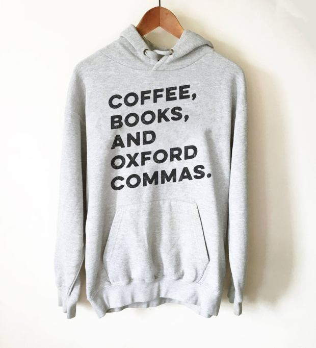 'Coffee, Books and Oxford Commas' hoodie
