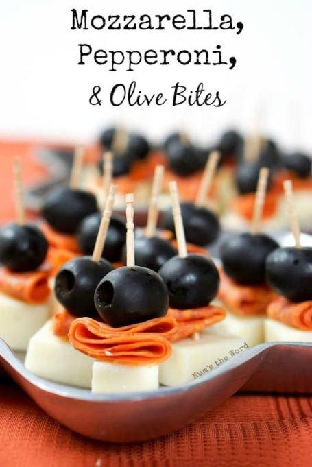 Mozzarella, pepperoni, and olive bites