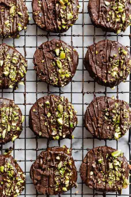 Pistachio Chocolate Sable Cookies