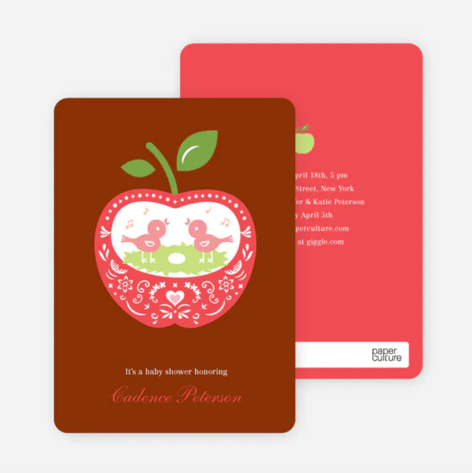 Baby Shower Invitations That Will Delight Every Guest: Appleseed Birds