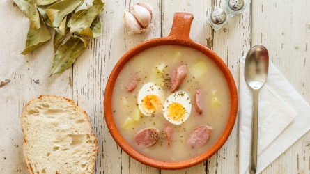 Traditional polish soup called Zurek served