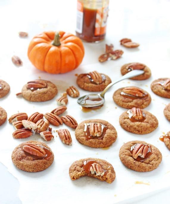 Caramel Pecan Pumpkin Thumbprint Cookies