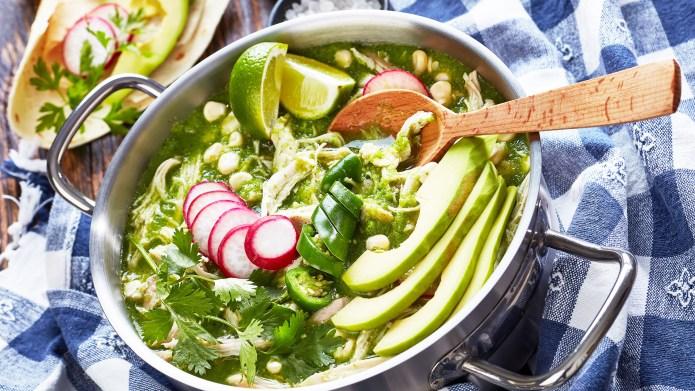 Pozole Verde in a metal casserole