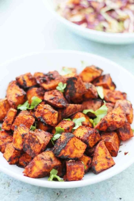 Chile Roasted Sweet Potatoes.