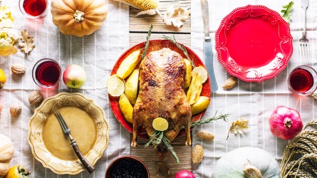 Thanksgiving dinner table with turkey, top