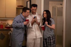 Daniel Levy, Emily Hampshire, and Noah Reid in 'Schitt's Creek.'