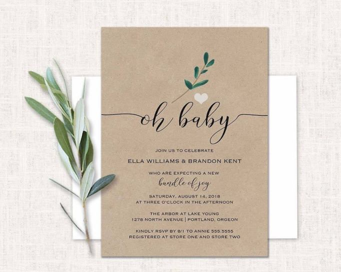 Baby Shower Invitations That Will Delight Every Guest: Kraft Paper & Greenery