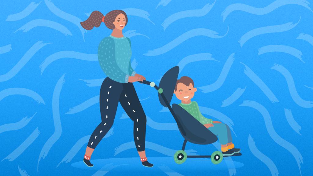 Mom pushing older child in stroller